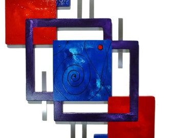 New Bold Red Blue purple fancy Swirl Unique Abstract Wall  decor -Wood with Metal Wall Sculpture 34x24 - By Alisa R Tarpley