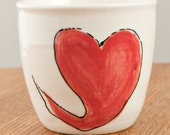 White Ceramic Pot with Hearts