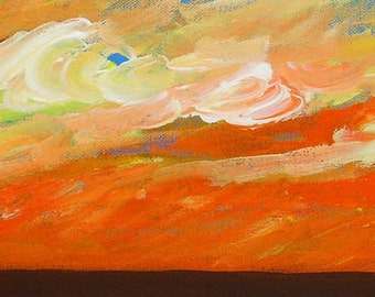 sky painting, Desert Sunset, original acrylic painting on canvas, landscape, desert painting, Southwest art, cloud painting