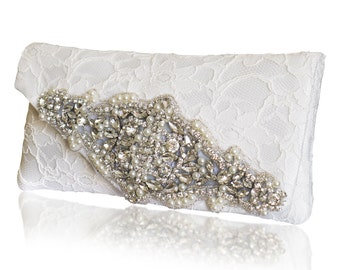 Diamante and lace bridal Isabella clutch purse