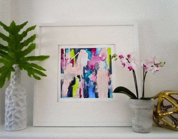 Blue Print Wall Decor : Blue abstract art print wall decor watercolor