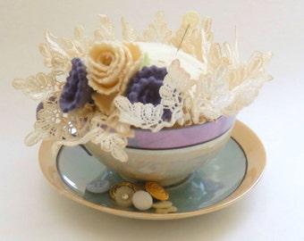 Rose Tea Cup Pin Cushion, TeaCup Pincushion, Lusterware Tea Cup Pincushion