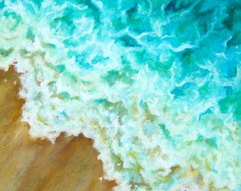 "Surf original acrylic painting on canvas by Eden Bachelder, 24"" x 20"", waves, ocean, water, beach, sea"