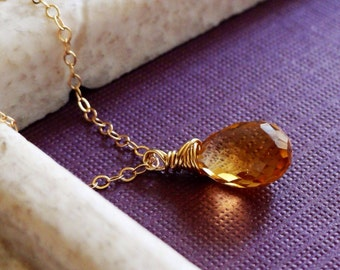 Citrine necklace, November birthstone, simple citrine necklace, gold fill, wire wrapped citrine solitaire, everyday jewelry