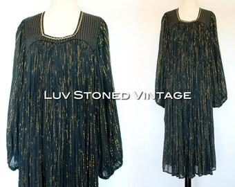 70s Vintage India Indian Embroidered Black Metallic Boho Hippie Gauze Gypsy Festival Midi Maxi Dress | SML | D002 | 1084.8.23.15