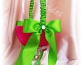 Flower girl basket, hot pink and green wedding flower girl accessories.
