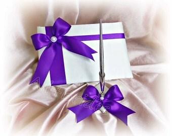 Wedding Guest Book Regency Purple wedding accessories, reception guest book, paper goods