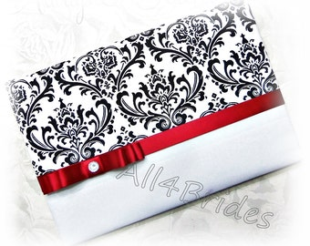 Madison damask wedding guest book, black, red and white wedding sign in book.