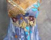 Sea Goddess appliqué beaded dress antique laces silk