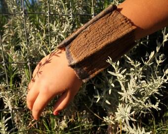 Nuno Felted Cuff Bracelet Bronze Gray Neutrals Earth Tones Ultra Fine Merino and Silk Gift for Her Cuff-004