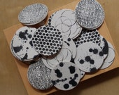 Set of 8, block printed cardboard coasters, assorted design pack