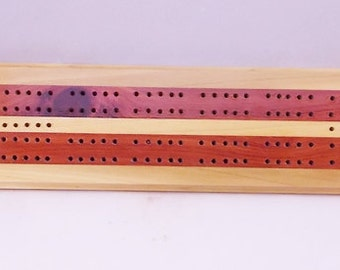 Cribbage Game Board -FREE Shipping - 2 Player - Complete with pegs, cards, storage bag - Poplar and Cedar wood - Includes Storage Bag