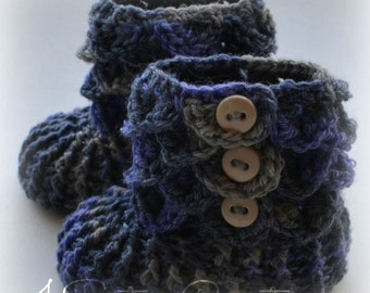 Crocodile Stitch 'Lavender Topaz' Booties with Buttons Newborn - 6 Months Crochet Boots - Made and Ready to go