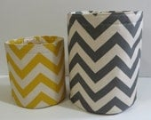 Fabric Storage Bins, Buckets, Containers in Chevron Canvas - Choose your color Natural and Aqua, Gray, Red, Yellow or Lime Green