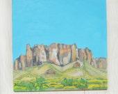 Arizona Painting, Superstition Mountains, Arizona Art, Desert Landscape, Southwest Art, Mountain Painting, Abstract Landscape, Turquoise Sky