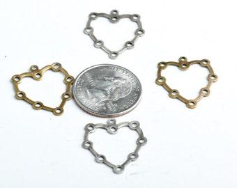 Vintage Brass Large Heart Charm pk/6