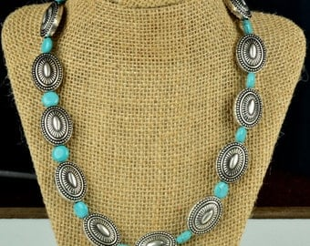Southwest Concho Bead Necklace with Turquoise spacers, 18 inches, 1 each