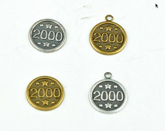 Year 2000 Charm 11mm Brass stamping with and without ring, 24 pcs 15136