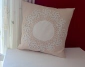 Decorative Throw Pillow Lace on Linen