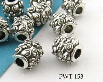 8mm Pewter Beads Small Bali Style Antiqued Silver (PWT 153) 12 pcs BlueEchoBeads
