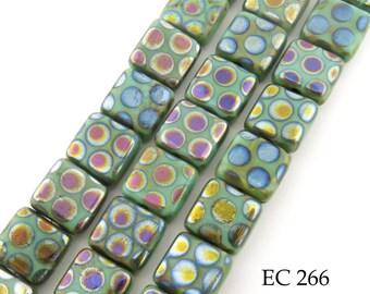 10mm Czech Glass Square Tile Tablet Beads Metallic Peacock Dots Green (EC 266) 8 pcs BlueEchoBeads