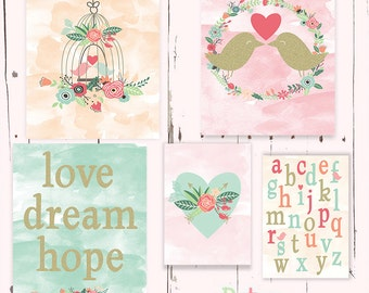 Love Dream Hope Birds Word Nursery Art Print Set Baby Girl Room Decor