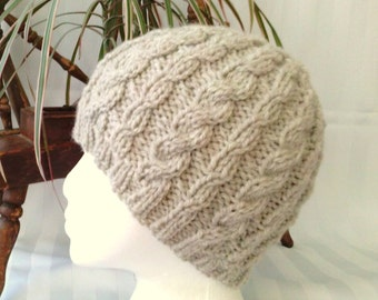 Wool/Acrylic Cable Beanie. Oatmeal. Beanies for Women. Beanies for Men. Knit Hat. Womens Hats. Mens Hats.