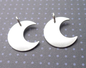 Sterling Silver Moon Charm Stamping Blank (BC1)