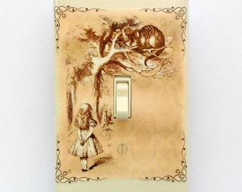 Peach and brown Alice switchplates w/ MATCHING SCREWS- We're all mad here Alice in Wonderland old book pages Alice in Wonderland book text