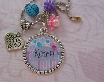 Personalized Big sister, middle sister or little sister charm necklace