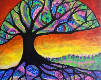 "Expression Tree Original 18"" x 18"" Acrylic Tree of Life Painting on canvas by Christina Colwell, Modern Contemporary Folk Art,"
