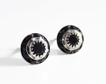 Black crystal studs - Swarovski crystal - black stud earrings - black crystal earrings - black diamond