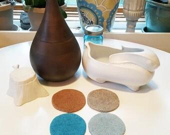 4 felted wool coasters in seafoam, aqua teal, sand, sesame tan (559)
