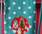 Nativity Matryoshka CHRISTMAS Holiday Kitchen TOWEL Aqua Dots