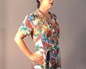 Vintage 80s Romper Playsuit One Piece Hawaii Tiki Beachwear Stewart Richer S/M