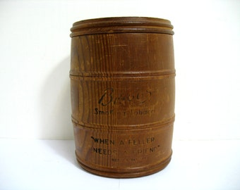 Vintage Briggs Tobacco Humidor Wooden Barrell Advertising When A feller Needs a Friend
