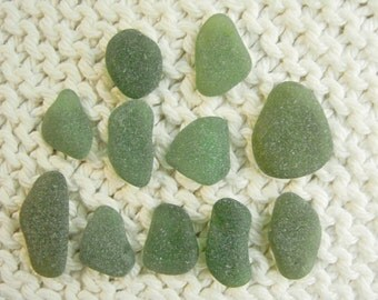 11 Pendant and Charm Size Mixed Rich Olive and Blue Green Seaglass Gems (SG1833) Mediterranean Sea Glass, Beach Glass
