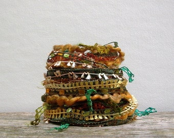 forest floor fiber effects™  art yarn bundle 12yds . green gold brown