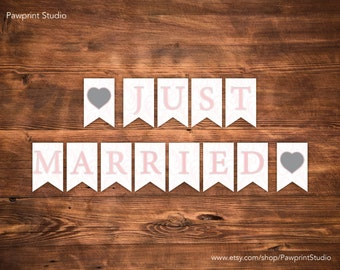 PRINTABLE Bunting: Soft Pink Swirls Just Married Bunting Banner