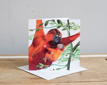 Baby Orangutan Greetings Card