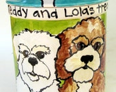 Custom Pet Portrait Ceramic Treat medium Jar for dogs whimsical personalized choice of colors