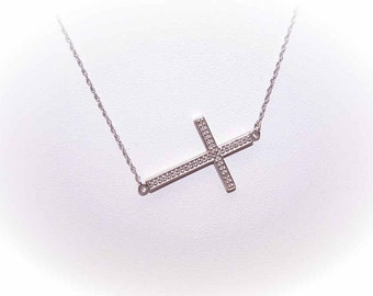 Vintage STERLING SILVER & Diamond Sideways Cross Necklace