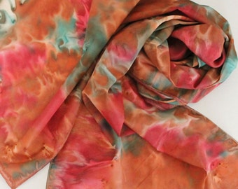 Hand Painted Silk Scarf - Handpainted Scarves Southwest Copper Burnt Orange Rust Dark Red Green Blue Turquoise Autumn Fall
