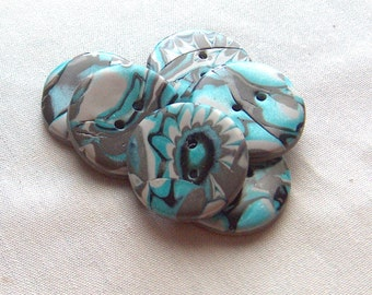 Large Turquoise, Grey and Black Buttons No.252