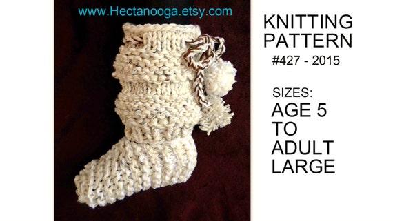 Knitting Pattern For Age : knitting PATTERN KNIT slippers 427-15 beginner friendly