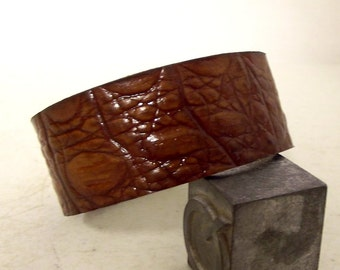 Exotic Brown leather cuff Western Boho Bracelet Hippie jewelry upcycled