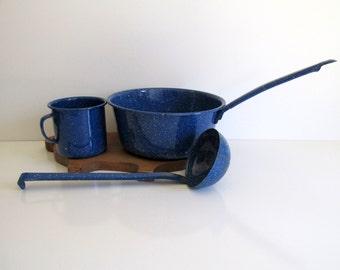 Vintage Enamelware Blue Spatterware Sauce Pot Cup with Handle Ladle Camping Farmhouse Decor