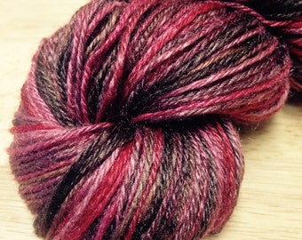 "Handspun Yarn Lace Silk ""Chocolate Cherries"" 270 yds."