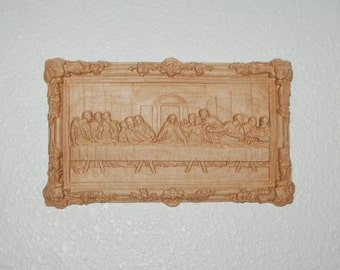Last Supper Intricate Carving with Jesus and Apostles - Carved Wooden Plaque - 10161