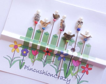 Bird Pins - 7 Owl & Bird Pins  - Decorative Sewing Pins - Sewing Accessories - Gift for Quilter - Pincushion Pals - Cardmaking Pins